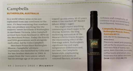 Campbells in Decanter's Top 10 New World Sweet Wines